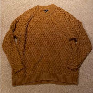H&M Mustard Yellow Oversized Knit Sweater Small